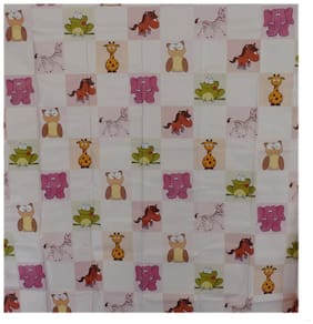 Aarushi Baby Pink Rubber Mat With Animals Print( Arsh_55)
