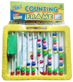 Abacus with Writing Board Counting Frame 2 in 1 with Duster and Chalk for kids.