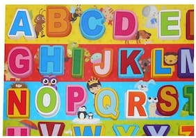 ABC Learning Alphabetical Colorful Wooden Letter Blocks Toy with Wooden Tray For Kids