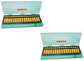 Abica Abacus math learning kit for kids yellow 17 rod with box ( pack of 2 )