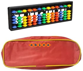 Abica Abacus math learning kit for kids 13 rod multi color with pouch ( pack of 10 )