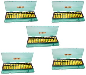 Abica Abacus math learning kit for kids yellow 17 rod with box ( pack of 5 )
