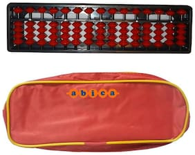 Abica Abacus math learning kit for kids 15 rod brown color with pouch ( pack of 1 )