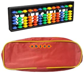 Abica Abacus math learning kit for kids 13 rod multi color with pouch ( pack of 2 )
