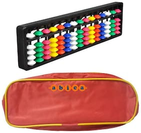 Abica Abacus math learning kit for kids 15 rod multi color with pouch ( pack of 1 )