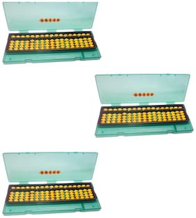 Abica Abacus math learning kit for kids yellow 17 rod with box ( pack of 3 )