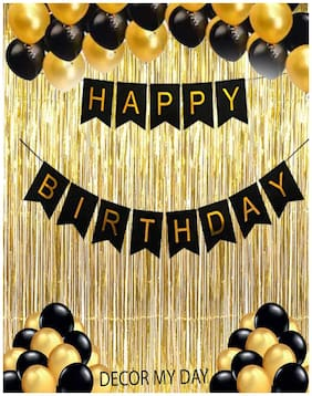 Ablegate Black Happy Birthday Banner + 30 Black and Golden Balloons with Curtain Gold Fringe for Happy Birthday Party Balloons