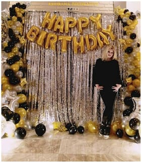 ABLEGATE Happy Birthday Letter Foil Balloon Set of Gold + 2Pcs Silver Fringe Curtain (3 X 6 Feet) + Pack of 50 pcs Metallic Balloons (Black;Gold and Silver)