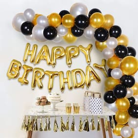 ABLEGATE Happy Birthday Letter Foil Balloon Set + Pack of 30 HD Metallic Balloons (Black;Gold and Silver) (Gold;Pack of 30)