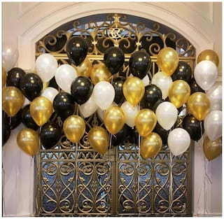 ABLEGATE Happy Birthday Letter Foil Balloon Set (Gold) for Birthday Party Decoration with Metallic HD Gold;Silver & Black Balloons - Pack of 43 pcs