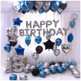 ABLEGATE Happy Birthday Letter Foil Balloon Set of (Silver)+HD Metallic Balloons (Blue Black and Silver)