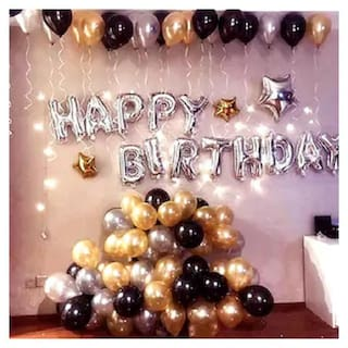 ABLEGATE Happy Birthday Letter Foil Balloon Set of (Silver)+HD Metallic Balloons (Black;Gold and Silver)