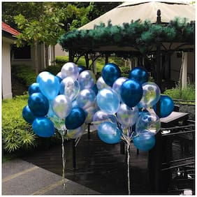 Ablegate HD Metallic Finish Balloons for Birthday / Anniversary Party Decoration ( Blue;Silver ) Pack of 50