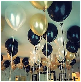 Ablegate HD Metallic Finish Balloons for Birthday / Anniversary Party Decoration ( Gold;Silver;Black ) Pack of 50