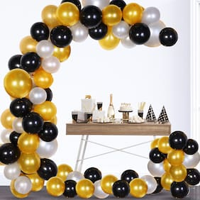ABLEGATE Pack of 50 Black;Golden and White Latex Balloon for Balloons for Decoration
