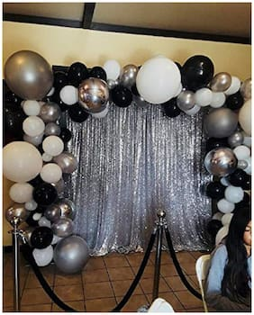 ABLEGATE Solid Balloons Combo for Birthdays/Anniversaries/Baby-Showers and Parties Decoration and Celebration (Black;White and Silver)+2 silver curtain Balloon (Multicolor;Pack of 102)