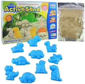 Active Sand Dinosaur Play Set | Non-Toxic | Never Dries Out | for Kids 3+ Years/Birthday Gifting Item for Toddlers