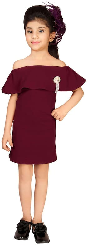 Addyvero Maroon Cotton Blend Sleeveless Above Knee Off Shoulder Frock ( Pack of 1 )