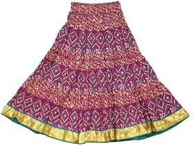 ADIBOO Girl Cotton Embellished A- line skirt - Purple