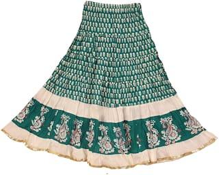 ADIBOO Girl Cotton Embellished A- line skirt - Green