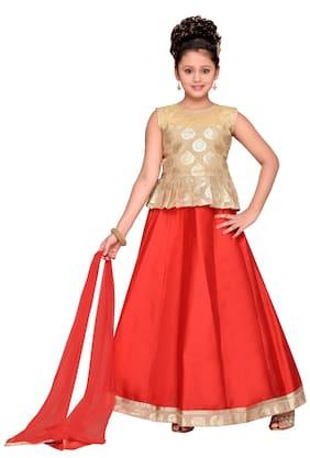 Adiva Girl Blended Self Design Lehenga Choli - Red