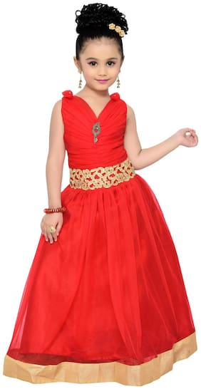Adiva Girl's Net Solid Sleeveless Gown - Red