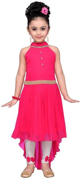 Adiva Girl's Party Wear High Low Dress For Kids