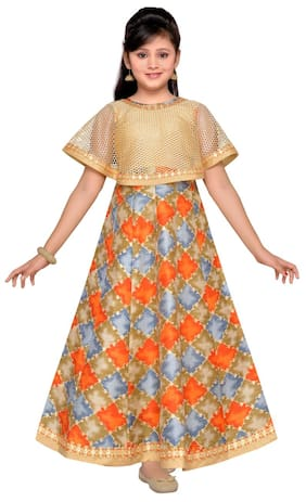 Adiva Girl's Silk blend Printed Short sleeves Gown - Beige
