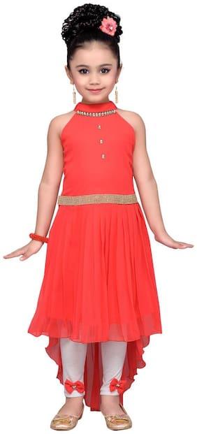 Adiva Girl's Georgette Solid Sleeveless Gown - Orange