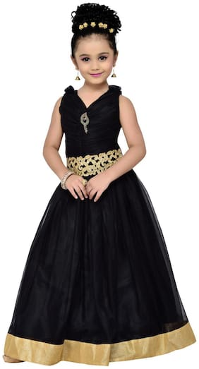 Adiva Girl's Net Solid Sleeveless Gown - Black