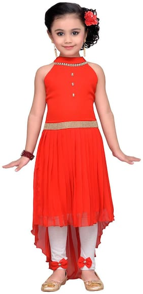Adiva Girl's Georgette Solid Sleeveless Gown - Red