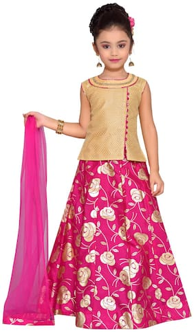 Adiva Girl's Brocade Solid Sleeveless Lehenga choli - Pink
