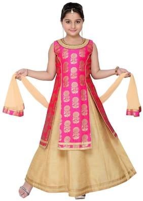 Adiva Girl Silk Blend Embellished Lehenga Choli - Pink