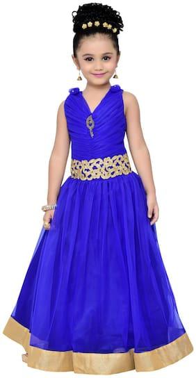 Adiva Girl's Net Solid Sleeveless Gown - Blue