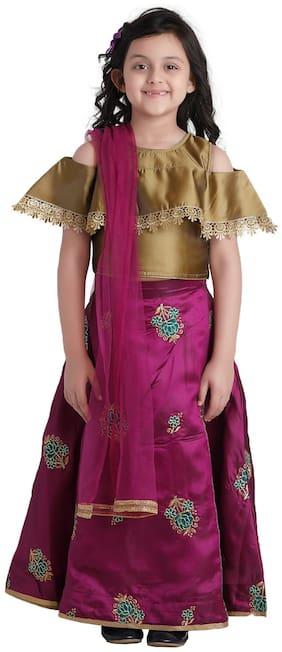 Adiva Kids Ethnic Wear Lehenga Choli for Girls (Pink;Golden)