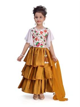 Adiva Girl's Satin Embellished Short sleeves Lehenga choli - Gold & White