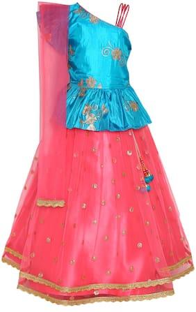 Adiva Girl's Satin Embellished Sleeveless Lehenga choli - Pink & Blue
