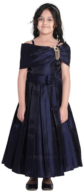 Adiva Girl's Satin Solid Sleeveless Gown - Blue