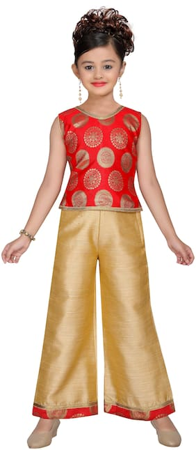 Adiva Kids Party Wear Red and Golden Color Kurta and Sharara Set For Girls