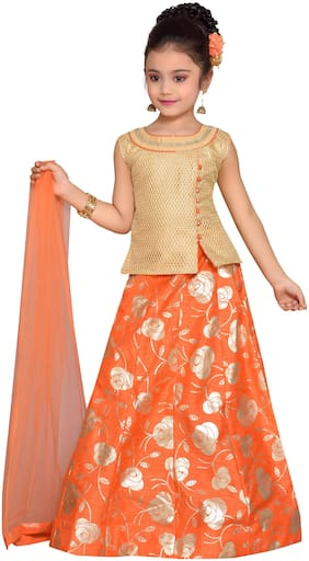 Adiva Girl's Net Printed Sleeveless Lehenga choli - Orange