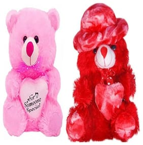 AGNOLIA Pink & Red Teddy Bear - 30 cm , Set of 2