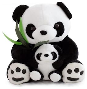 Agnolia Soft Huggable White & Black Panda Teddy Bear with Baby 70 cm