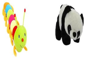 Agnolia Soft stuffed spongy colorful Caterpillar 55 cm with panda 25 cm