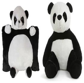 Agnolia Stuffed spongy Panda pillow 40 cm and sitting Panda 60 Cm - 40 cm  (White, Black)