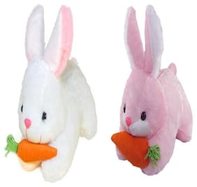 Agnolia Stuffed Soft White and pink rabbit with carrot - 25 cm  (White, Pink)
