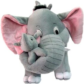 Agnolia Stuffed soft Grey Elephant with baby - 40 cm  (Grey)