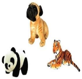 Agnolia Stylish Gift Gallery stuffed Soft Animal Toy for kids/Birthday Gift/Boy/Girl combo of Tiger;Panda and Pug dog - 30 Cm