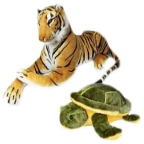 Agnolia Stylish Gift Gallery stuffed Soft Animal Toy for kids/Birthday Gift/Boy/Girl combo of Tiger and Tortoise - 30 Cm