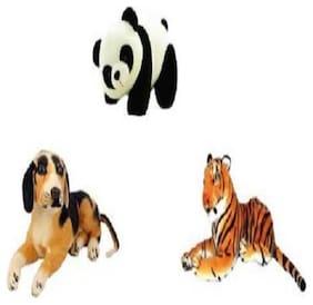 Agnolia Stylish Gift Gallery stuffed Soft Animal Toy for kids/Birthday Gift/Boy/Girl combo of White Tiger;Panda and Dog - 30 Cm