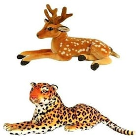 Agnolia Stylish Gift Gallery stuffed Soft Animal Toy for kids/Birthday Gift/Boy/Girl combo of Cheetah and Deer - 30 Cm